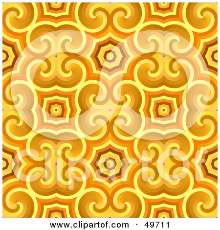 Royalty-Free (RF) Clipart Illustration of a Trendy Golden And Orange Patterned Background by Arena Creative