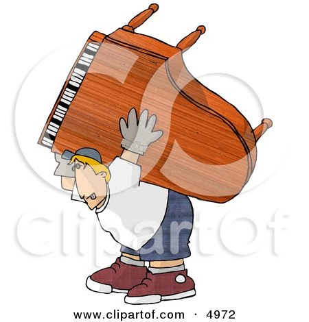 Exaggeration of a Strong Man Moving a Heavy Grand Piano Clipart by djart