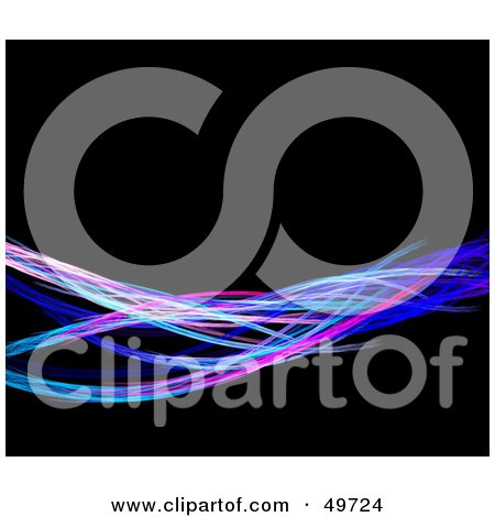 Royalty-Free (RF) Clipart Illustration of a Wave Of Colorful Fractal Wires On Black by Arena Creative