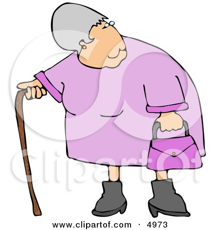 Elderly Obese Woman Standing with a Cane Posters, Art Prints