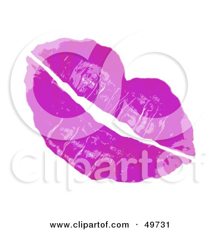 Royalty-Free (RF) Clipart Illustration of a Pair Of Sexy Female Lips In Purple Lipstick, On White by Arena Creative