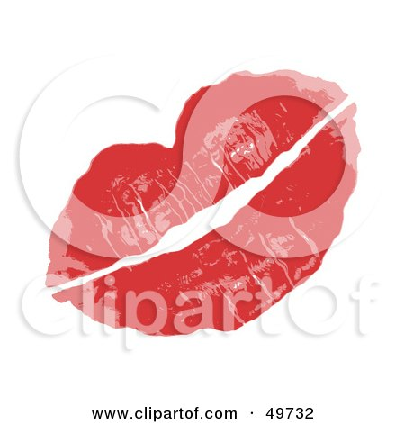Royalty-Free (RF) Clipart Illustration of a Pair Of Sexy Female Lips In Red Lipstick, On White by Arena Creative