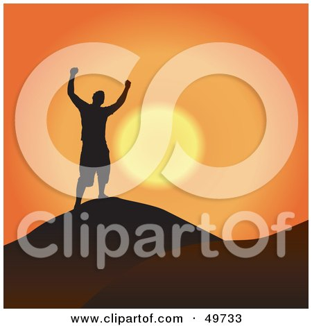 Royalty-Free (RF) Clipart Illustration of a Free Man Silhouetted Against An Orange Sunset At The Top Of A Mountain by Arena Creative