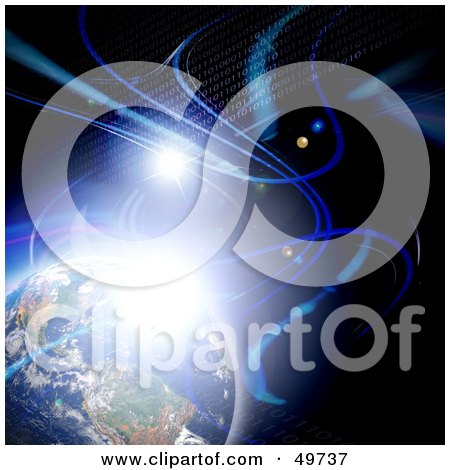 Royalty-Free (RF) Clipart Illustration of a Bright Burst Of Light And Rows Of Binary Coding Flowing Past Earth In Outer Space by Arena Creative