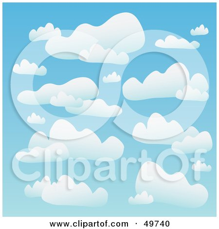 Royalty-Free (RF) Clipart Illustration of a Blue Background Of Puffy White Clouds In The Heavens by Arena Creative