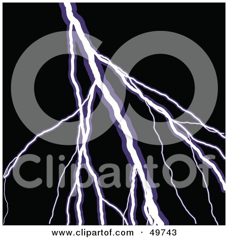 Royalty-Free (RF) Clipart Illustration of a Bolt of White and Purple Lightning Over Black by Arena Creative
