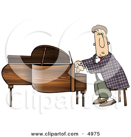 Professional Pianist Playing Grand Piano Clipart by djart