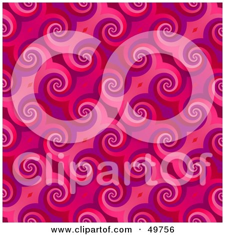 Royalty-Free (RF) Clipart Illustration of a Retro Pink Curl Pattern Backgrouns by Arena Creative