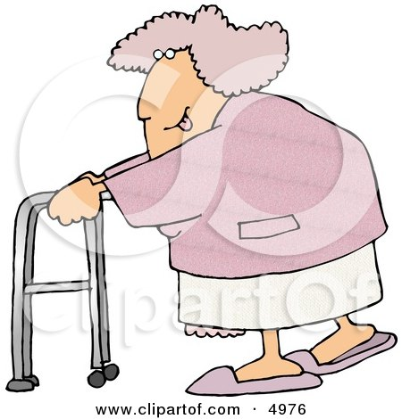 Flirty Obese Woman Sticking Her Tongue Out While Using a Walker Clipart by djart