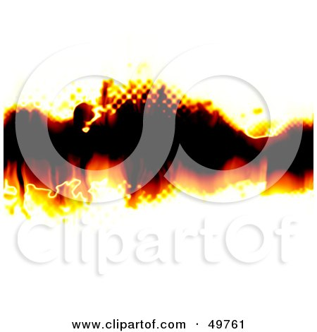 Royalty-Free (RF) Clipart Illustration of a Halftone Fire Text Box On White Paper by Arena Creative