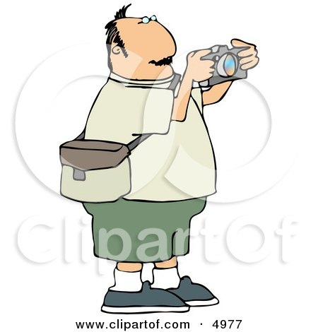 Overweight Man Taking Pictures with a Digital Camera Clipart by djart