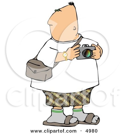 Tourist Looking Around with a Camera In His Hand Clipart by djart
