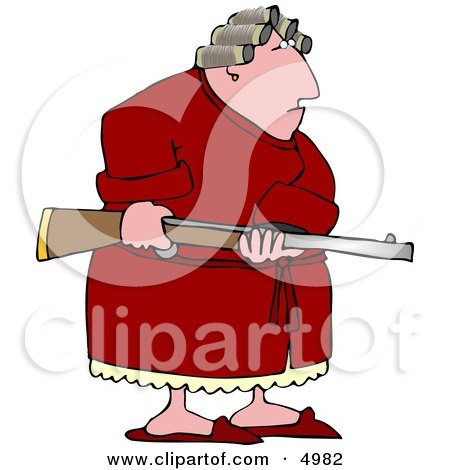 Armed Angry Woman With PMS Clipart