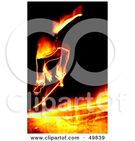 Royalty-Free (RF) Clipart Illustration of a Fiery Skateboarder Jumping on Black by Arena Creative