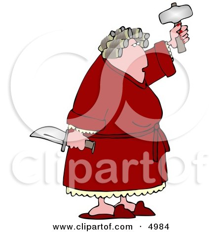 Crazy Woman with PMS Holding a Knife and Hatchet Clipart by djart