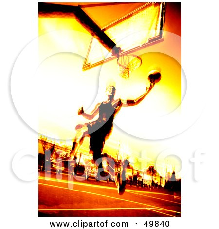 Royalty-Free (RF) Clipart Illustration of a Fiery Basketball Player Jumping Towards A Hoop by Arena Creative
