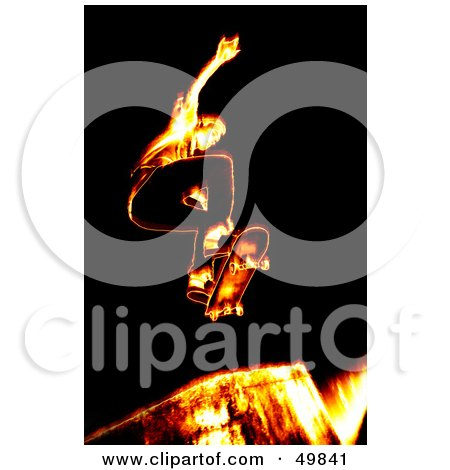 Royalty-Free (RF) Clipart Illustration of a Fiery Skateboarder Catching Air on a Ramp by Arena Creative