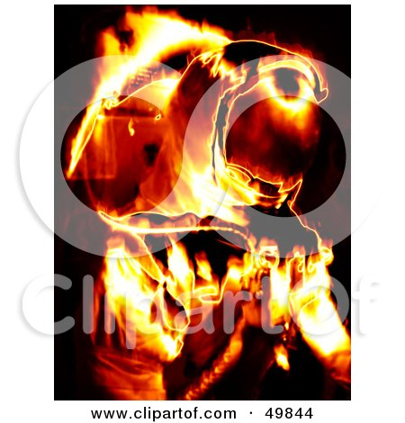 Royalty-Free (RF) Clipart Illustration of a Fiery Astronaut on Black by Arena Creative