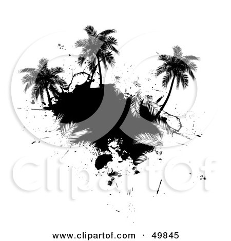 Royalty-Free (RF) Clipart Illustration of a Black Palm Tree Island Silhouette on White by Arena Creative
