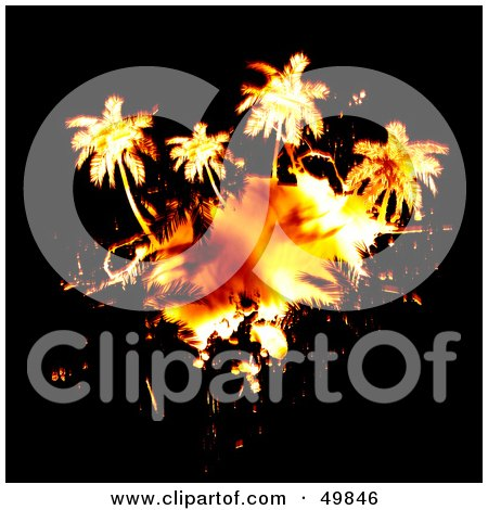 Royalty-Free (RF) Clipart Illustration of a Fiery Palm Tree Island on Black by Arena Creative