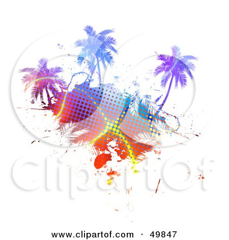 Royalty-Free (RF) Clipart Illustration of a Colorful Halftone Palm Tree Island on White by Arena Creative
