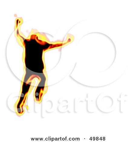 Royalty-Free (RF) Clipart Illustration of a Fiery Man Running on White by Arena Creative