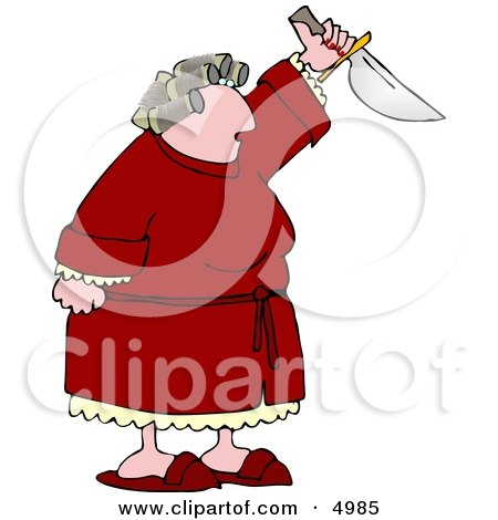 Angry Woman with PMS Preparing to Kill Someone with a Knife Clipart by djart