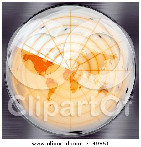 Royalty-Free (RF) Clipart Illustration of an Orange Round Radar Screen Scanning The Map by Arena Creative