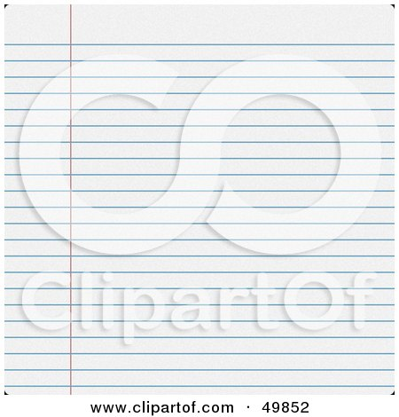 Royalty-Free (RF) Clipart Illustration of a Sheet of Blank Ruled Paper by Arena Creative