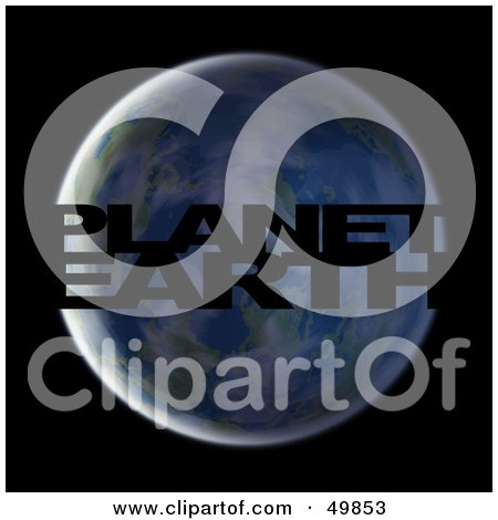 Royalty-Free (RF) Clipart Illustration of Black PLANET EARTH Text Cut Out of the Globe by Arena Creative
