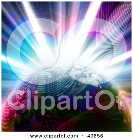 Royalty-Free (RF) Clipart Illustration of a Colorful Explosion Behind Planet Earth With Waves by Arena Creative