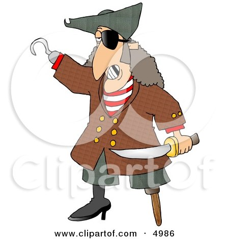 Pirate with Missing Teeth, Hook Hand, Holding a Knife, and a Wooden Leg Clipart by djart