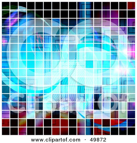 Royalty-Free (RF) Clipart Illustration of a Square Pixel Background of Colorful Lines by Arena Creative