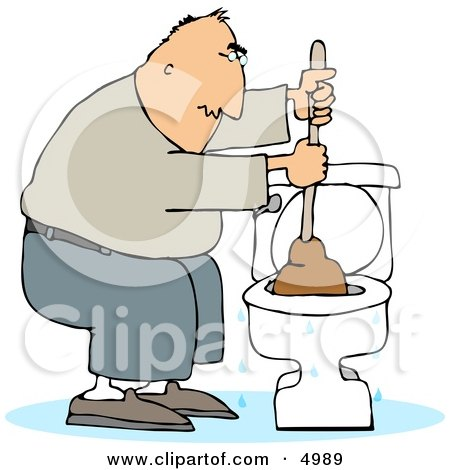 Man Plunging a Clogged Toilet Clipart by djart