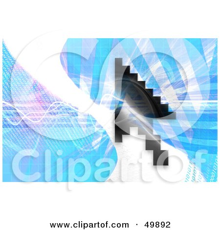 Royalty-Free (RF) Clipart Illustration of a Black Pixelated Mouse Cursor Over A Blue Background With A White Wave by Arena Creative