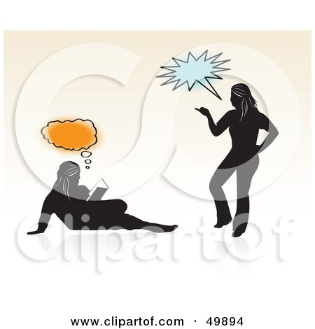 Royalty Free RF Clipart Illustration Of Two Silhouetted Teen Girls Reading ...