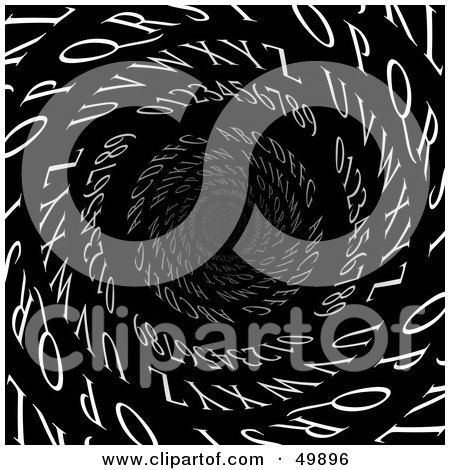 Royalty-Free (RF) Clipart Illustration of White Letters And Numbers Spiraling Down A Tunnel, Symbolizing Email Or Dyslexia by Arena Creative