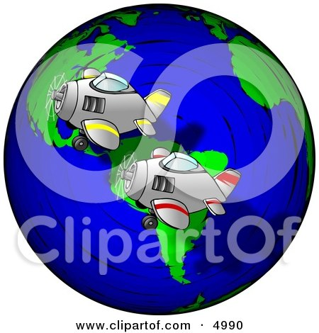 Planes Racing Around the World Clipart by djart