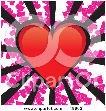 Royalty-Free (RF) Clipart Illustration of a Red Heart With Black Rays On A Pink Heart Background by Arena Creative