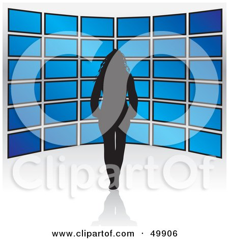 Royalty-Free (RF) Clipart Illustration of a Black Silhouetted Female In Front Of Blue Television Displays by Arena Creative