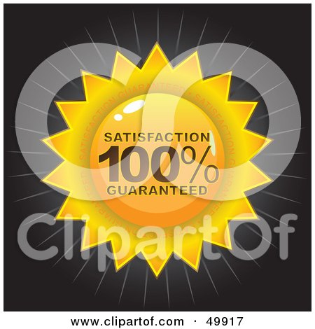 Royalty-Free (RF) Clipart Illustration of a Gold Satisfaction 100 Percent Guaranteed Seal On Black by Arena Creative
