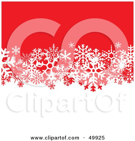 Royalty-Free (RF) Clipart Illustration of a White And Red Background Divided By White Snowflakes by Arena Creative