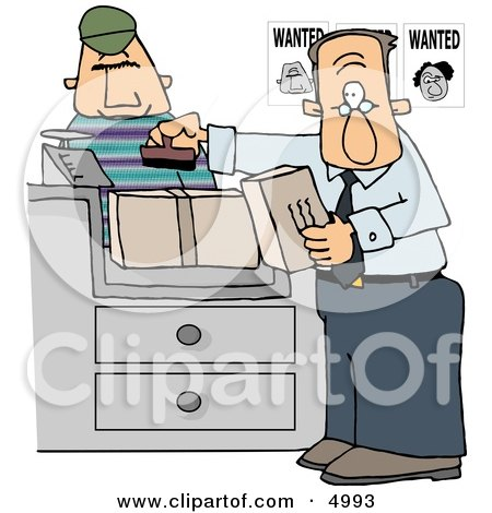 Wanted Man Mailing a Package at the Post Office Clipart by djart