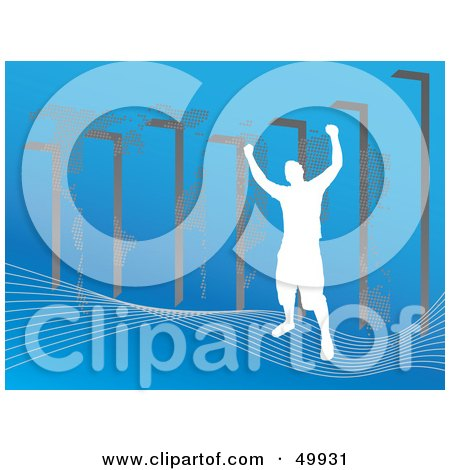 Royalty-Free (RF) Clipart Illustration of a Silhouetted Man On A Wave Over Blue by Arena Creative