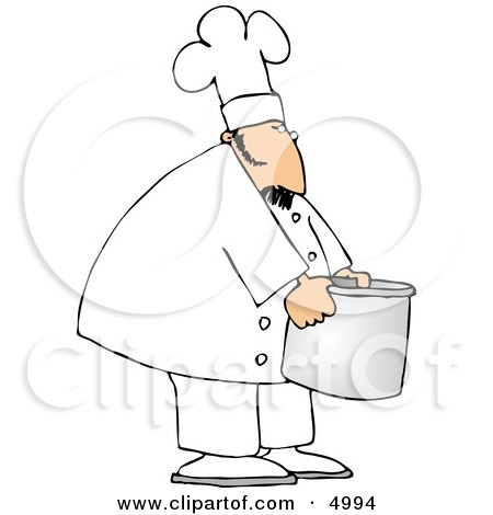 Chef Moving A Big Aluminum Metal Cooking Pot Clipart