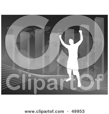 Royalty-Free (RF) Clipart Illustration of a Silhouetted Man Standing On A Wave In Front Of An Atlas And Bar Graph On Gray by Arena Creative