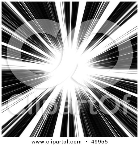 Royalty-Free (RF) Clipart Illustration of a Bright White Burst With Rays On Black by Arena Creative