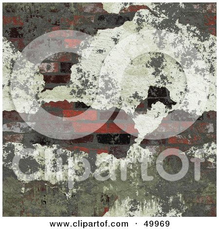 Royalty-Free (RF) Clipart Illustration of Plaster Crumbling off to Reveal a Brick Wall by Arena Creative