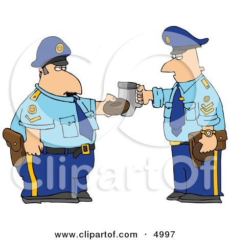 Policemen Toasting Donut and Coffee Cup Together Posters, Art Prints