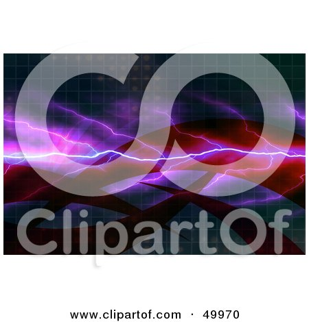 Royalty-Free (RF) Clipart Illustration of Purple Lightning Over Swooshes On A Tiled Background by Arena Creative